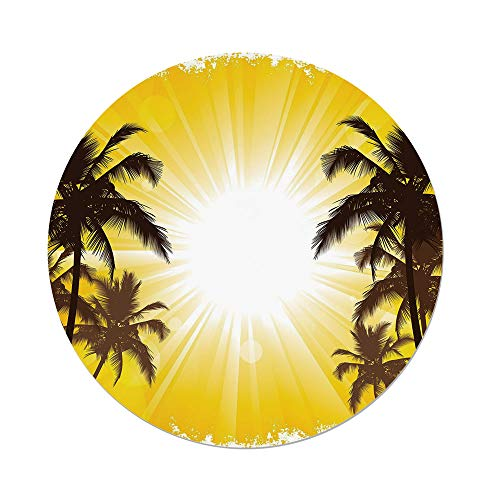 iPrint Polyester Round Tablecloth,Apartment Decor,Holiday Theme A Sunny Tropical Place with Palm Trees Illustration,Yellow and White,Dining Room Kitchen Picnic Table Cloth Cover,for Outdoor Indoor