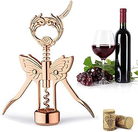 XHJL Sacacorchos abridor de Botellas multifunción abridor de Vino Tinto removedor de Doble ala de Cerveza y Corcho de Vino sacacorchos con tapón-Accesorios de Cocina (Dorado)