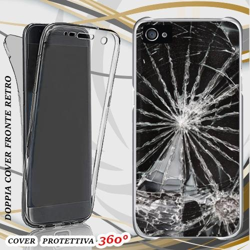 CUSTODIA COVER CASE VETRO GLASS ROTTO PER IPHONE 4 FRONT BACK