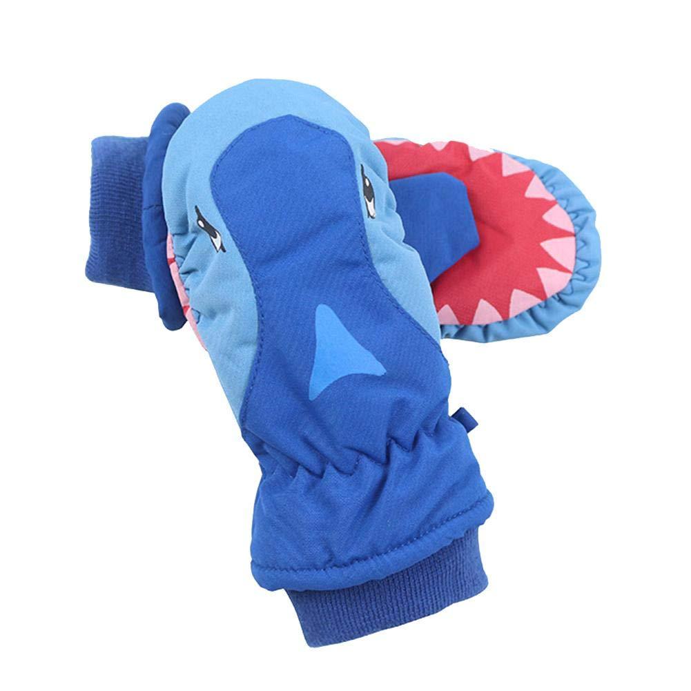 Color Rojo Snowboard Azul Azul Transpirables Impermeables Ablerfly para ni/ños con Tiburones de Dibujos Animados Azul Gris Guantes de esqu/í para esqu/í