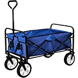 TecTake Foldable hand cart pull along wagon | up to 80 kg load | -different colours- (Blue | no. 402595)