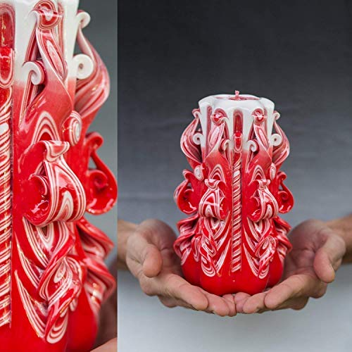 (Unique Candle For Gift For Him Wome0n For Husband And For Her Red and White)