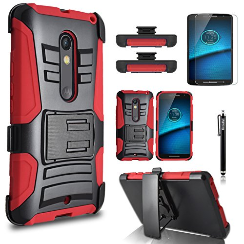 Droid Maxx 2 Case, [Heavy Duty] Combo Rugged Shell Cover Holster with Built-in Kickstand and Holster Locking Belt Clip + Circle(TM) Stylus Touch Screen Pen And Screen Protector - Red