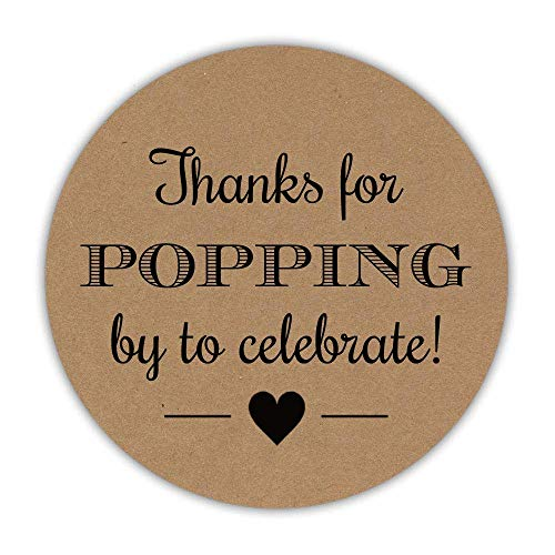 40 Thanks for popping by stickers, 2 inches - Popcorn favor labels - Ready to pop baby shower - AM007 -