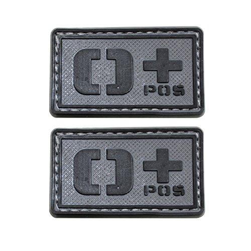 EJG Bundle 2 pieces-Tactical Blood Type Patches -Type O Positive - 2x1 (Black Gray PVC O+)