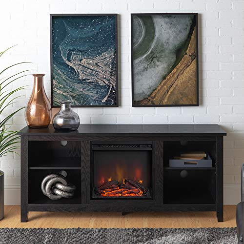 New 58 Inch TV Stand with Fireplace in Black Finish (Black Finish Fireplace)
