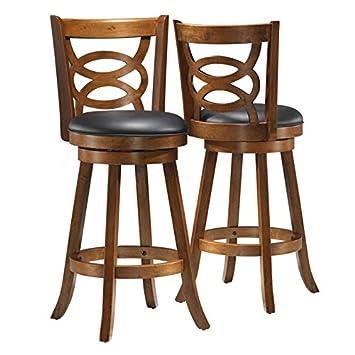 Astonishing Amazon Com Pemberly Row 29 Swivel Bar Stool In Dark Oak Lamtechconsult Wood Chair Design Ideas Lamtechconsultcom