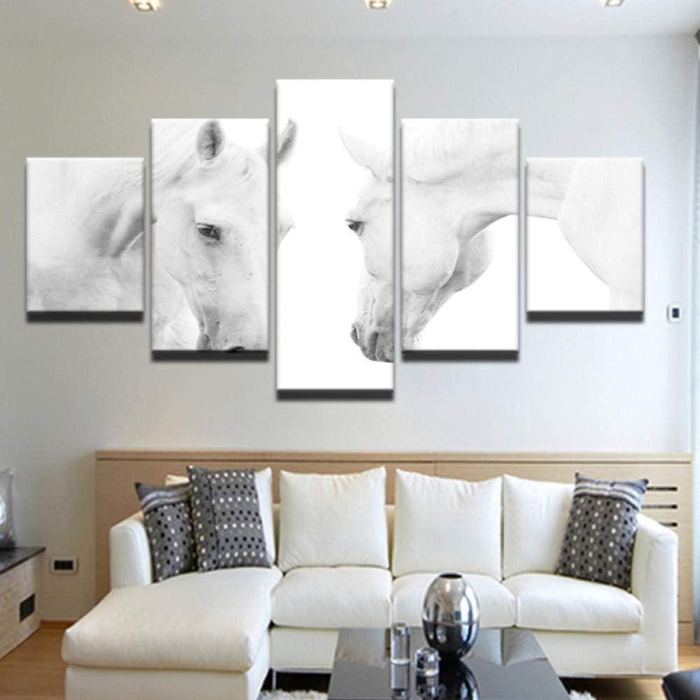 ZZHPlanet Regalo Cuadros Populares Decoración para el hogar Marco 5 Panel Animales Caballos Blancos Impresión en Lienzo Pintura Arte de la Pared Cuadros modulares para Sala de Estar
