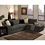 Furniture of America Faith Deluxe Contemporary Microfiber Fabric Upholstered 2-piece Sectional Grey