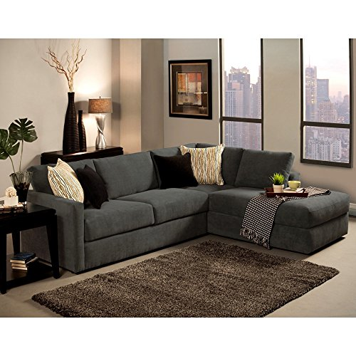 Furniture of America Faith Deluxe Contemporary Microfiber Fabric Upholstered 2-piece Sectional Grey by Furniture of America