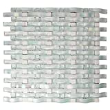 Woven Curved Organza White 3D Wavy Mosaic Glass Tile - 1x1 Stone Inserts - Kitchen and Bathroom Backsplash (Box of 5 Sheets)