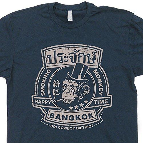 M - Bangkok Thailand T Shirt The Smoking Monkey Beastie Bar Shirts Pub Hangover Funny Graphic Tee