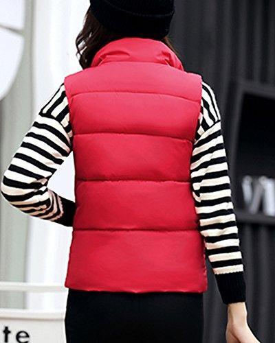 Doudoune Blouson Manteau Rouge Femme Hiver Court Gilet Sans Manche Veste Chaud ZwAAqCgx