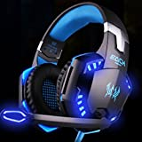 Computer Gaming Headset Headset Desktop With Wheat, DTS 7.1 Surround For PC, PC/Mac/PlayStation 4/Android/iOS/VR (Color : Black blue)