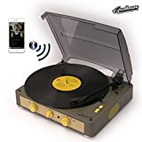 Gadhouse Brad Vintage Record Player 3-speed Turntable Built in Bluetooth, Stereo Speakers, Headphone Jack, Aux Input for Smartphone, RCA Line Out Jacks (Grey)