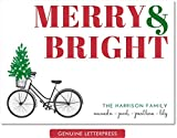 Personalized Letterpress Holiday Cards (Bicycle Merry & Bright)