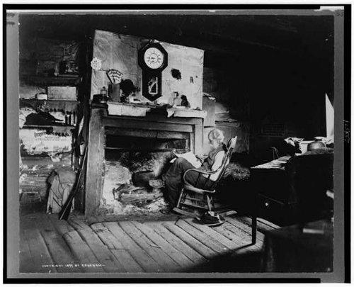 HistoricalFindings Photo: Elderly Man,Fireplace,Clock,Reading,c1899,Rocking Chair by HistoricalFindings