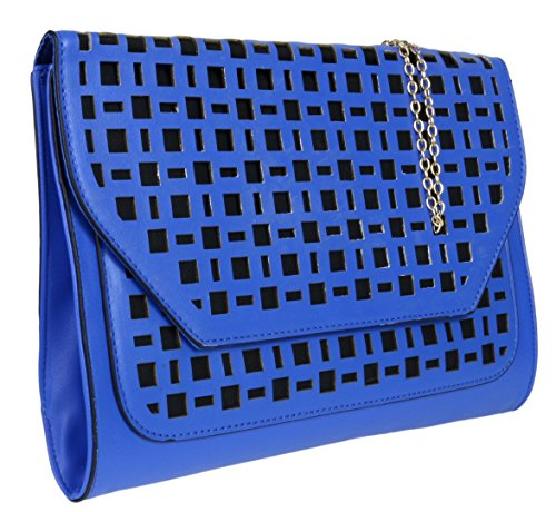 Girly Blue HandBags Laser Elegant Designer Cut Bag Clutch Perforated Inspired Oversized Leather Faux Women rfdSwqOr