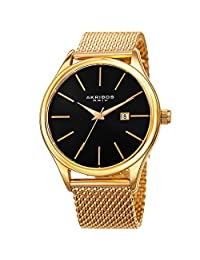 Akribos XXIV Men's Quartz Stainless Steel Casual Watch, Color:Gold-Toned (Model: AK959YGB)