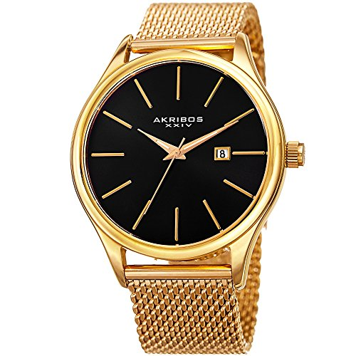Akribos XXIV Yellow Gold Designer Men's Watch - Classic and Casual Round Stainless Steel Mesh Fashion Bracelet Wristwatch AK959YGB