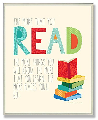 The Kids Room by Stupell The More That You Read The More Things You Will Know Rectangle Wall Plaque, 11 x 0.5 x 15, Proudly Made in - Corner Art