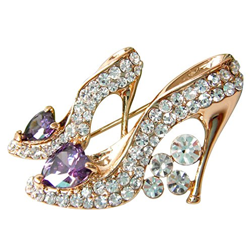 ted Purple Cubic Zicon Austrian Crystal Shoes Az7786b Brooch Pin ()