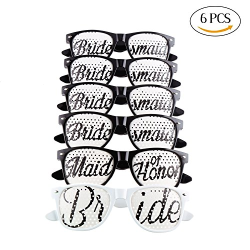 DECORA 6 Pieces Bride to Be Sunglass Set Bridal Shower Sunglass Kit for Bachelorette Party - Party Supplies Sunglasses
