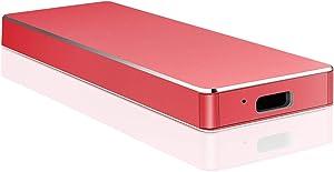 Portable External Hard Drive,External Hard Drive Ultra Thin External HDD Compatible 1TB 2TB for PC, Mac,Desktop, Laptop(2TB-A Red)