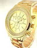 Geneva Yellow Gold Tone Classic Round Cz Ladies Boyfriend Watch. Faux Chronograph Design. Crystal Rhinestones Around Face Under Glass. Row of Crystals on First Two Links on Band. Metal Link Band. Handles Are Glow in the Dark. Secure Double Closure. Gift Box Included for Easy Gift Giving.