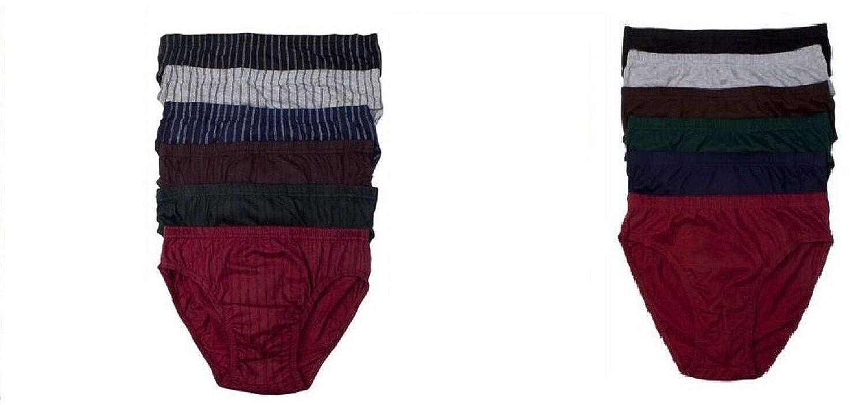 elpishop Double Mens Front Stripes Plain Bikinis Brief 100/% Cotton Lined 3 Size L Plain Briefs Random Colors