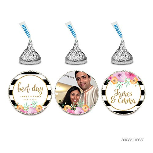 Andaz Press Floral Gold Glitter Print Wedding Collection, Photo Personalized Chocolate Drop Label Stickers Trio, 216-Pack, Custom Name, Fits Hershey's Kisses Party Favors (Photo Chocolate Personalized)