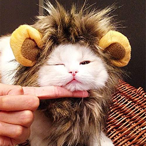 HAVIPRO Funny Dress Up Lion Mane Wig for Dogs Halloween Pet Dog Cat Costume Hat Head Sets for Dog Fancy Pet Dog Cat Accessories 35 P1 -