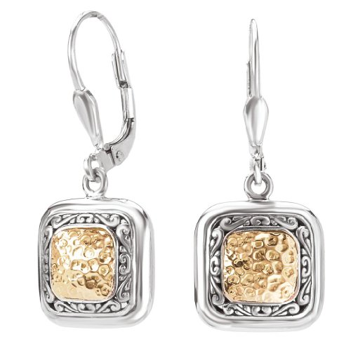 925 Silver Hammered Square Dangle Earrings with 18k Gold Accents