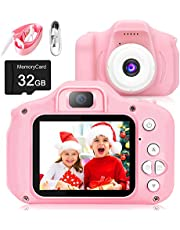 Kids Camera for Girls Boys Toy, 20.0MP Dual Lens 1080P FHD Video Recording Selfie Toddlers Anti-Drop Camcorder with 32GB SD Card,Portable Children Game Toy Gift for Christmas Birthday