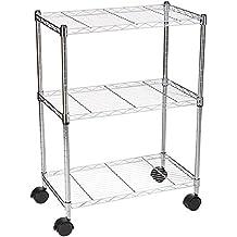 AmazonBasics 3-Shelf Shelving Unit on Wheels - Chrome
