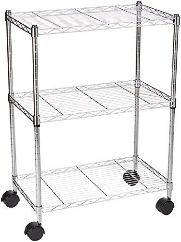 AmazonBasics 3-Shelf Shelving Storage Unit on Wheels, Metal Organizer Wire Rack, Chrome Silver (Metal Shelf Wheels)
