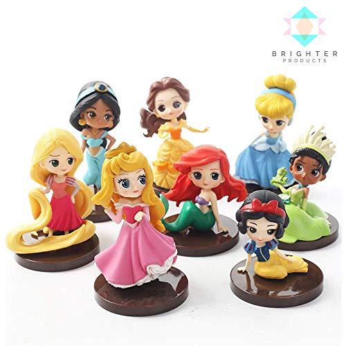 Brighter Products 8pcs/lot Q Posket Snow White | Rapunzel | Jasmine | Ariel | Cinderella | Belle | Princess Aurora | Princess Tiana Collectible Model Action Figure (8 Pcs Without Box)