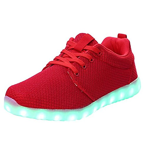 differently 85c29 92b16 Fuiigo LED Light Up Lovers Breathable Sneakers Men Women Canvas Shoes (7 D(M