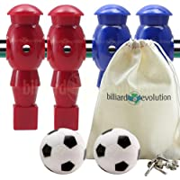Billiard Evolution 4 Red and Blue Foosball Men and 2 Soccer Balls with Free Screws and Nuts