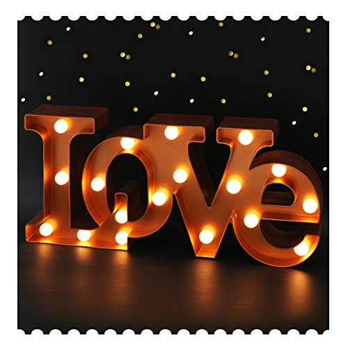 "BRIGHT ZEAL 7"" Tall Large LED ""LOVE"" Marquee Sign Letters (BRONZE, 6hr Timer) - LOVE Light Up Sign Battery Wedding Signs - Decorative Signs LOVE Decor for Bedroom - Valentine Decorations for Party"