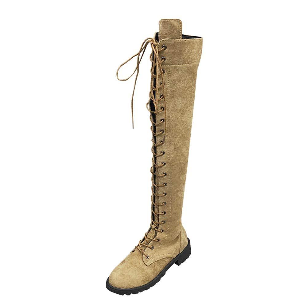 Sannysis Stiefeletten Damen Elegant Stretch Faux Slim Lace-up Hohe Stiefel Overknee Stiefel High Heels Schuhe