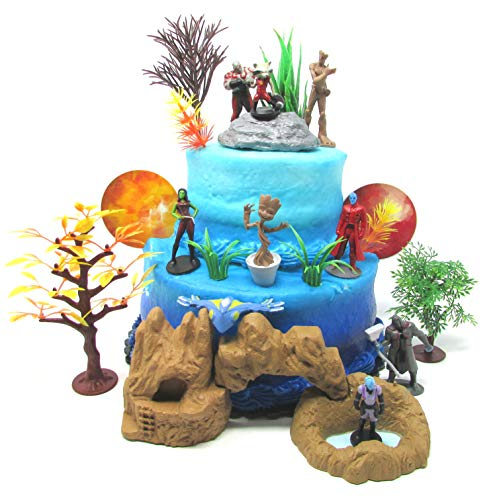Guardians of the Galaxy Birthday Cake Topper Set Featuring Figures and Decorative Themed Accessories (Groot Birthday Party Supplies)