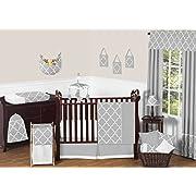 Sweet Jojo Designs 11-Piece Modern Gray and White Trellis Baby Bedding Gender Neutral Girl or Boy Lattice Print Crib Set Without Bumper