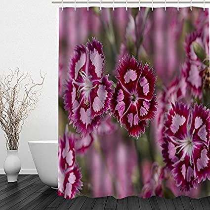 Tiraone Cranberry Ice Dianthus Waterproof Polyester Fabric Custom Shower Curtain 72quot X 80quot