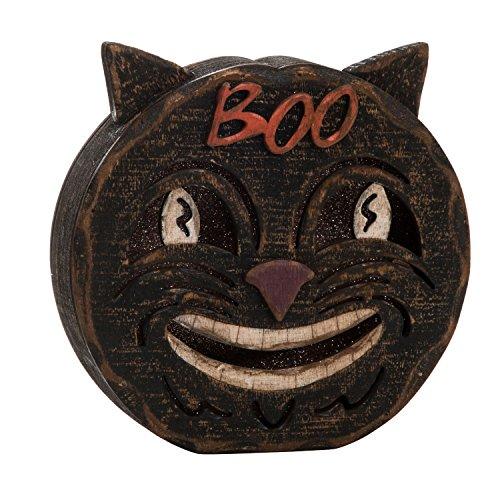 One Holiday Way Vintage Rustic Wooden Skull, Black Cat, or Pumpkin Halloween Faces - Standing Halloween Tabletop Decorations (Black Cat)