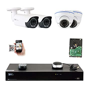 GW Security 8CH 5 Megapixel 1920P Video Home Security Camera System, 2pcs  HD 1920p 5MP Outdoor Bullet & 2pcs Dome IP Camera,80-120ft Night Vision,