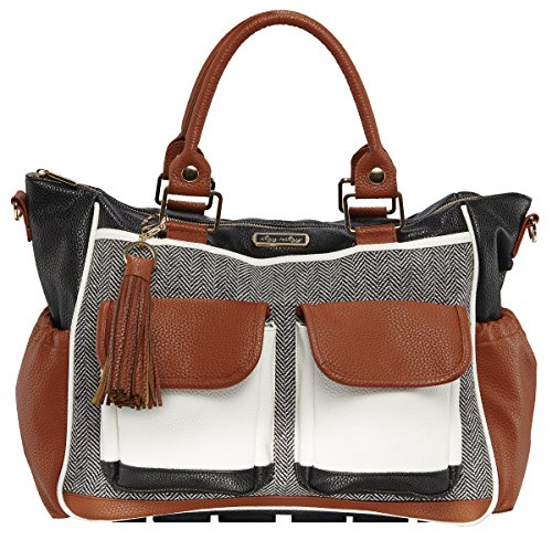 Itzy Ritzy Triple Threat Convertible Diaper Bag - Converts from a Tote to a Messenger Bag to a Backpack Diaper Bag; Includes 13 Total Pockets, Matching Stroller Straps & Changing Pad, Coffee & Cream