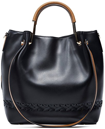 Tote Capacity Shoulder Ladies Boyatu Desinger Handbag Bucket Black Leather Large qfTvnCxSw