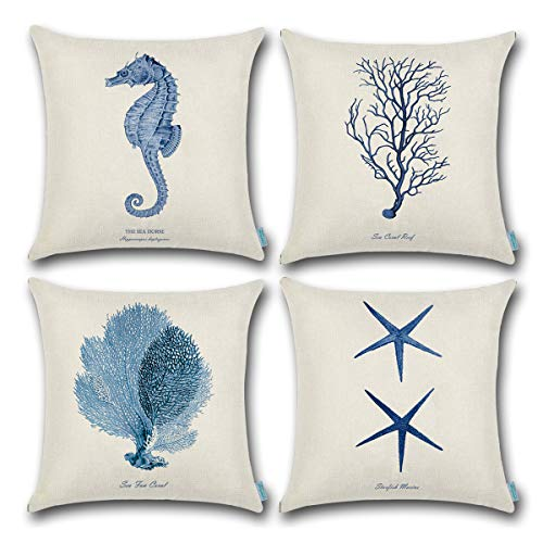 (CARRIE HOME Blue Sea Theme Decor Seahorse/sea Grass/Starfish Decorative Cotton and Linen Throw Pillow Covers 18 x 18 Inch for RV Decorations, Set of 4)