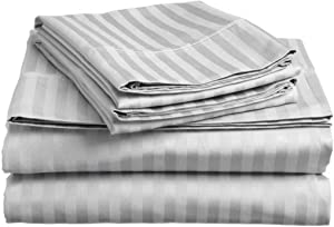 CLASSIC HOME COLLECTION Hotel Luxury Certified 100% Cotton { 1800-TC } 4-PCs Sheet Set Fits Mattress 21-24'' Deep Pocket (King Size) Best Sheets for Bed (Stripe, Silver Grey)